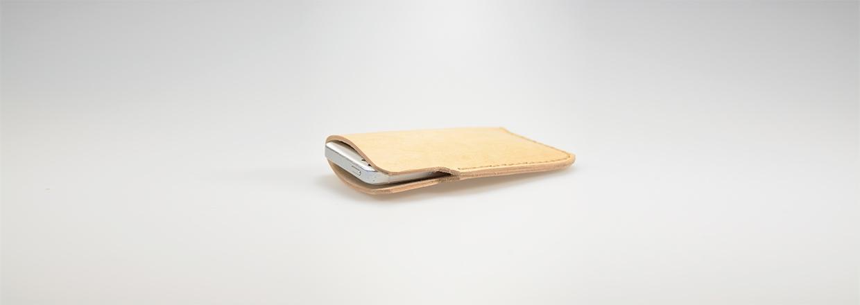 Mobiltelefon sleeve i læder